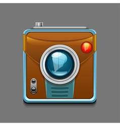 Camera icon isolated on grey background vector