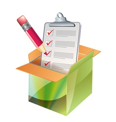 carton and notepad vector image