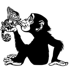 cartoon chimp holding a chameleon black and white vector image