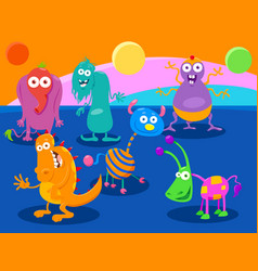 Cartoon fantasy monster characters group vector