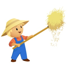 Cartoon farmer hay with pitchfork vector