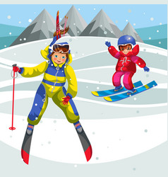 cartoon friends skiing on hill on cold winter day vector image