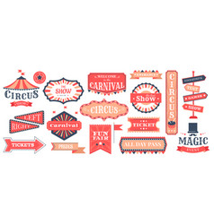 circus event labels carnival magic show elements vector image