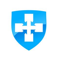 Clean healthy blue shield cross symbol design vector