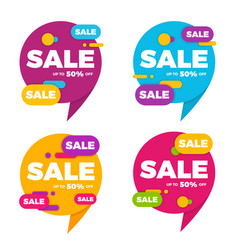 collection of colorful speech bubble sale designs vector image