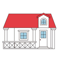 Color sections silhouette facade house with vector
