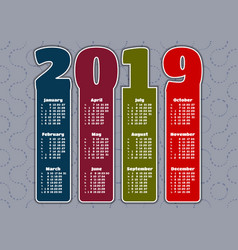 colorful calendar for 2019 year vector image