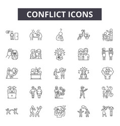 Conflict line icons signs set outline vector