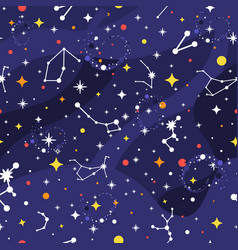 Constellation seamless pattern space background vector