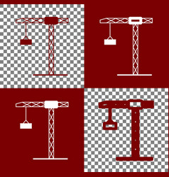 construction crane sign bordo and white vector image