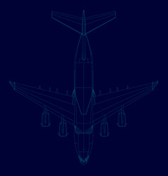 contour of the plane of the blue lines on a dark vector image