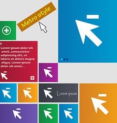 Cursor arrow minus icon sign Metro style buttons vector