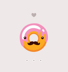 cute donut with strawberry glaze delicious sweet vector image