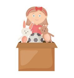 Cute little girl playing with toys box vector