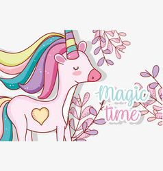 Cute unicorn with plants leaves and heart vector
