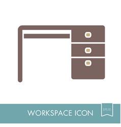 Desk outline icon workspace sign vector