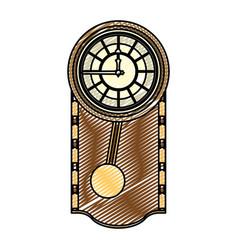Doodle cirrus oak wall clock design vector