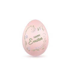 easter egg 3d icon pink egg lettering isolated vector image