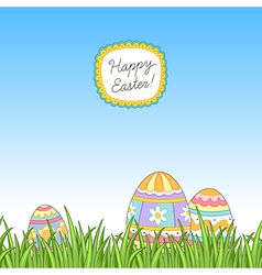 Easter grass eggs vector image
