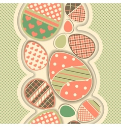 Easter retro seamless border with eggs vector image