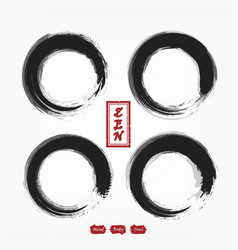 Enso zen circle compilation set sumi e design vector