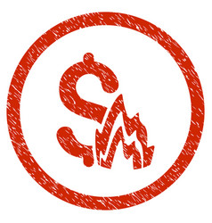 Fire disaster rounded grainy icon vector
