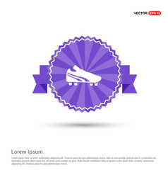 Football boot icon - purple ribbon banner vector