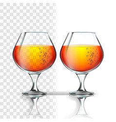 Full glass of alcoholic beverage cognac vector