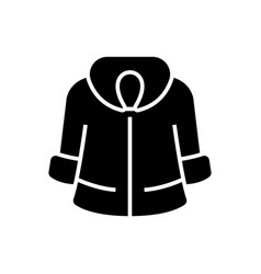 Fur coat icon black sign on vector