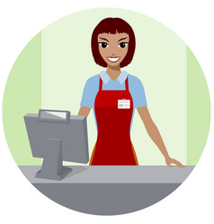 Girl seller standing at counter vector