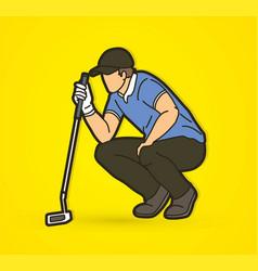 golf player golfer action cartoon sport graphic vector image