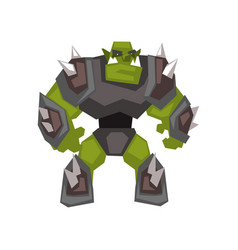 Green huge armored monster warrior creature vector