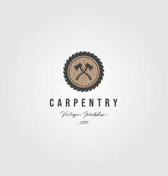 grinding carpentry service logo with ax vintage vector image