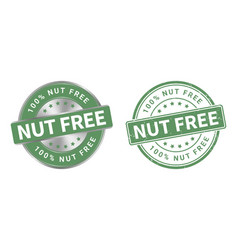 grunge stamp and silver label nut free vector image