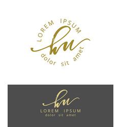 H u handdrawn brush monogram calligraphy logo vector
