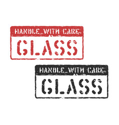 Handle with care cargo stamp imprint for logistics vector