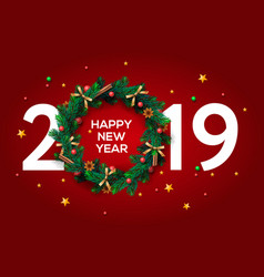 Happy new year 2019 text design greeting with and vector