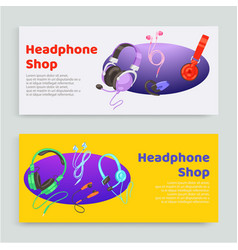 headphone shop inscription banner set online vector image