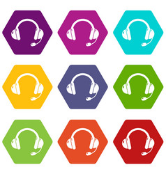 headset icons set 9 vector image