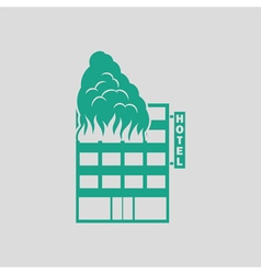Hotel building in fire icon vector