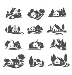 Icons of house for real estate company vector
