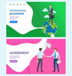international business collaboration agreement vector image