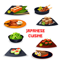 Japanese cuisine seafood sushi meat dishes icon vector