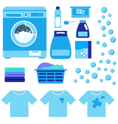 laundry washer machine with detergent flat vector image