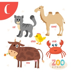 Letter C Cute animals Funny cartoon animals in vector