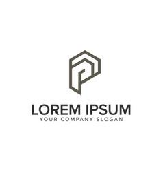 letter p minimalist logo design concept template vector image