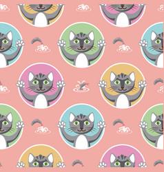 Little gray cats seamless pattern vector