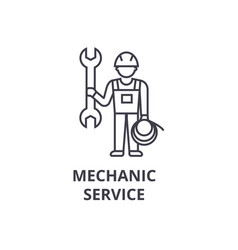 mechanic service line icon sign vector image