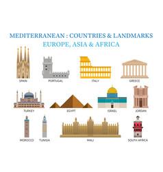 mediterranean europe africa asia countries vector image