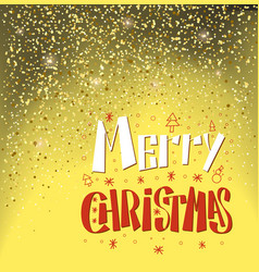 merry christmas lettering text with snowman spruce vector image
